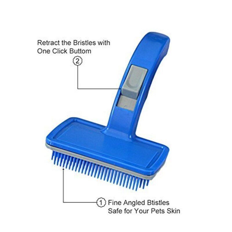 Dog Cat Slicker grooming Brush with Press Key vm pets mart