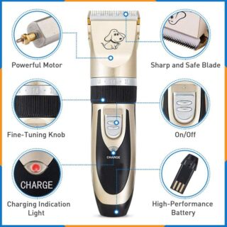Dog Clippers Cat Shaver, Professional Hair Grooming Clippers Detachable Blades Cordless Rechargeable